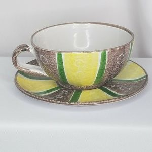 Italy pottery vintage rustic latte mug cup saucer